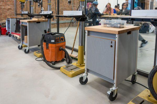 butcher block mobile pedestal cart for maker spaces and shop environment